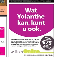 Advertentie van internetprovider Online: Yolanthe kan overstappen, u ook!