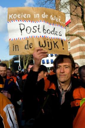 Postbodes protesteren