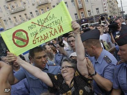 Betogers opgepakt in Moskou