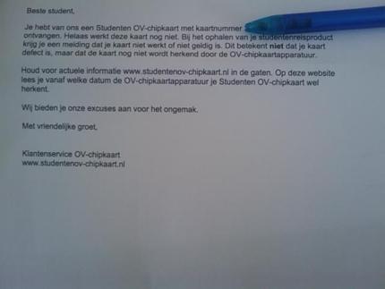 Brief aan gedupeerde studenten