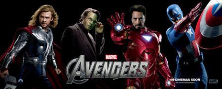 Avengers banner: Thor, Hulk, Iron Man, Captain America