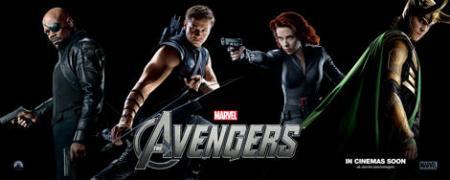 Avengers banner: Nick Fury, Hawkeye, Black Widow, Loki
