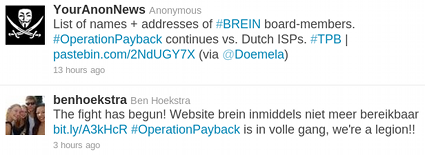 Twiter: #operationpayback n.a.v. Brein vs. Xs4all/Ziggo