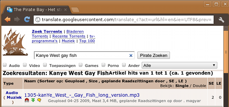 The Pirate Bay toont 'Kayne West gay fish' via Google Translate
