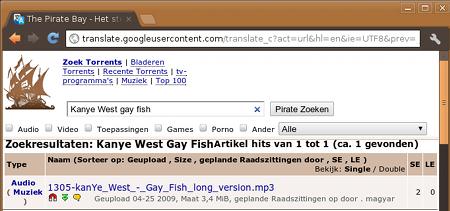 The Pirate Bay toont 'Kayne West gay fish' via Google Translate