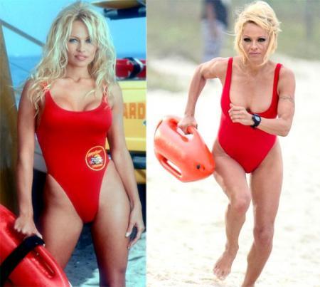Pamela Anderson in rood badpak (2012)