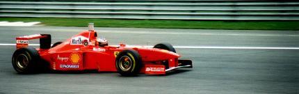 Schumacher tijdens de Grand Prix van Italië in 1997 (WikiCommons/[][zep])