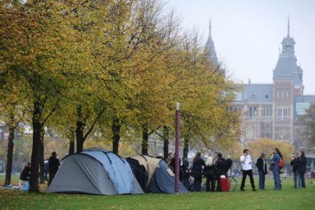 Vluchtelingen bijeen op Museumplein