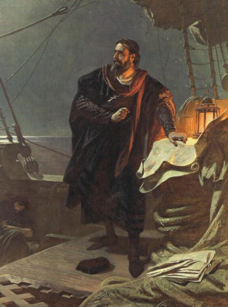 Columbus aan boord, door Carl von Piloty