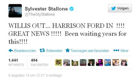Sly Stallone op Twitter