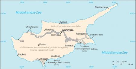 Kaart Cyprus anno nu