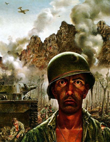Schilderij van Tom Lea, 1944, Pacific: '2000 Yard Stare'