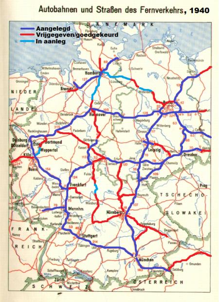 Kaartje snelwegennet 1940