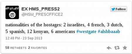 Tweet Al-Shabab over gijzelactie Nairobi