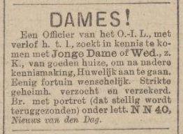 De huwelijksadvertentie uit Het Nieuws van de Dag van 11 februari 1895