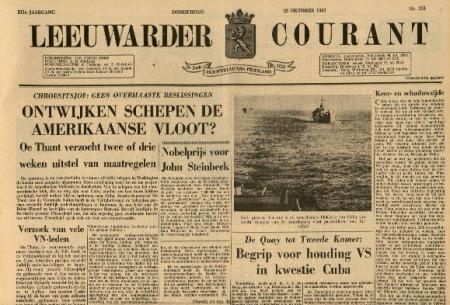 De Leeuwarder Courant van 25 oktober 1962