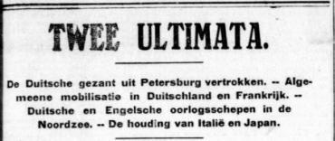 Uit de Telegraaf van 2 augustus 1914