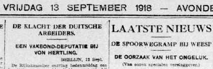 Uit de Telegraaf van 13 september 1918