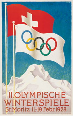 De poster voor de Winterspelen in Sankt Moritz in 1928 (WikiCommons/http://www.olympic.org)