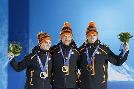 Het onverwachte, maar mooie Nederlandse podium op de 500 meter bij de mannen (PRO SHOTS/Henk Jan Dijks)