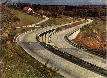 Autobahn; kleurenfoto uit de jaren dertig