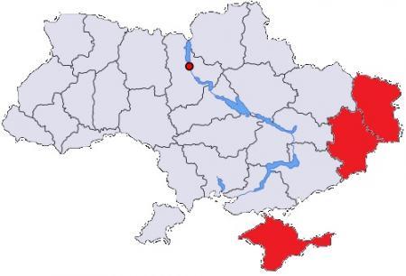 Opstandig deel Oekraïne; Kiev is de rode stip