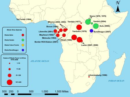 Ebola-uitbraken in Afrika vanaf 1979