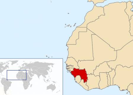 Guinee op de kaart van Afrika. (Kaartje: Wikipedia)