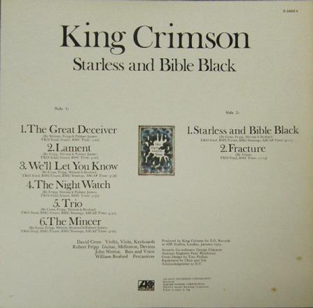 King Crimson - Starless And Bible Black back