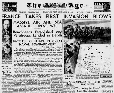 De voorpagina van The Age van 7 juni 1944