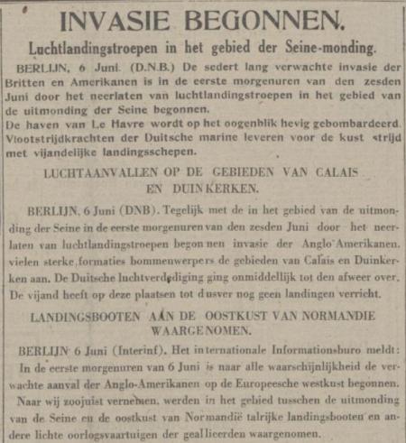 Uit de Nieuwe Koerier van 6 juni 1944