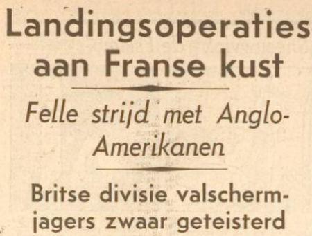 Uit het Dagblad van Leiden en Omstreken van 6 juni 1944