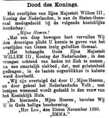 Uit de Leeuwarder Courant van 26 november 1890