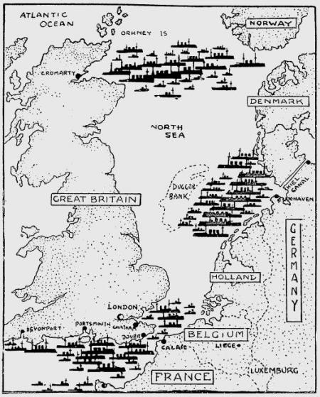 Een kaartje van de situatie rondom de Noordzee in 1914