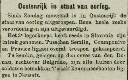 Uit De Volksstem van 28 juli 1914