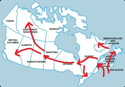 De route door Canada