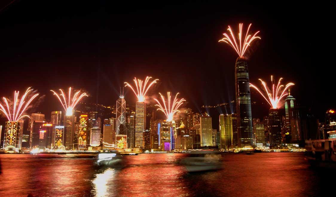 Hong Kong Skyline vuurwerk