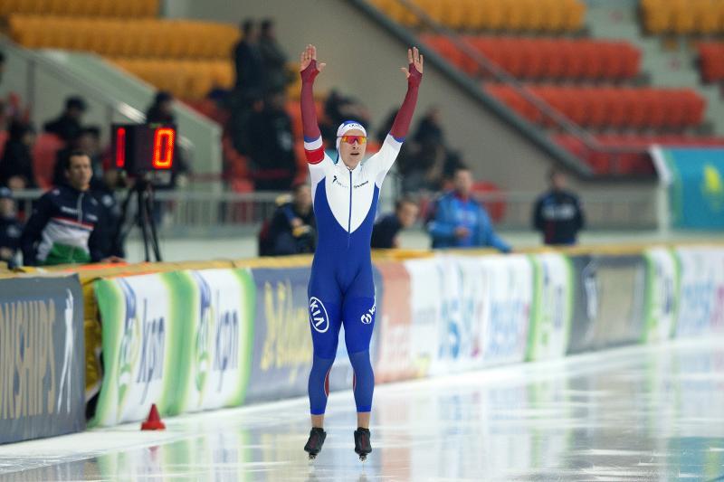 Pavel Kulizhnikov viert de wereldtitel sprint (Pro Shots/Erik Pasman)