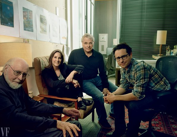 Componist John Williams, producer en de president van Lucasfilm Kathleen Kennedy,...