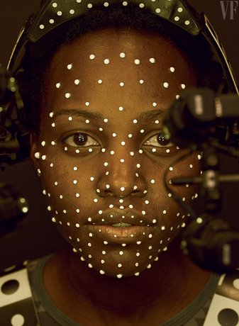 Lupita Nyong'o voordat zij door middel van CGI het personage Maz Kanata zal...