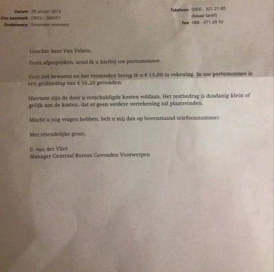 Brief aan heer van Velsen van NS over gevonden portemonnee
