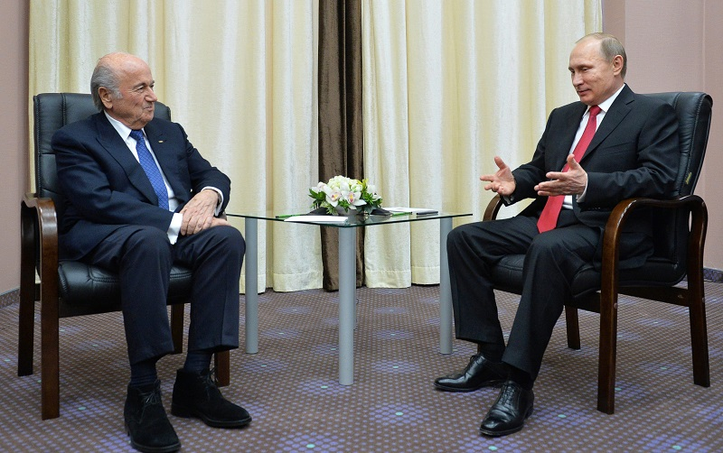Blatter en Putin, dikke maatjes (PRO SHOTS/ANP)