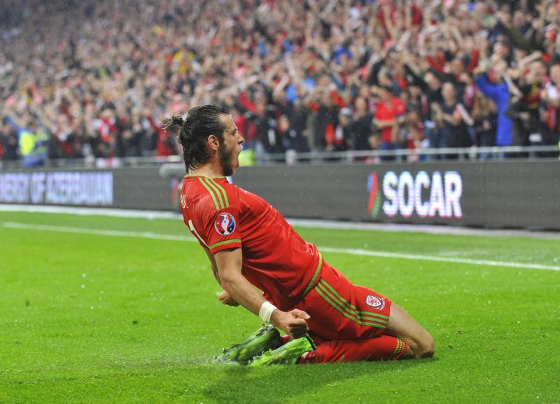 Garath Bale viert het doelpunt tegen België. (PRO SHOTS/Actionimages)