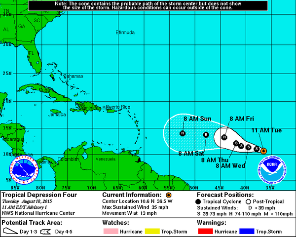 Danny (Bron: National Hurricane Centre)