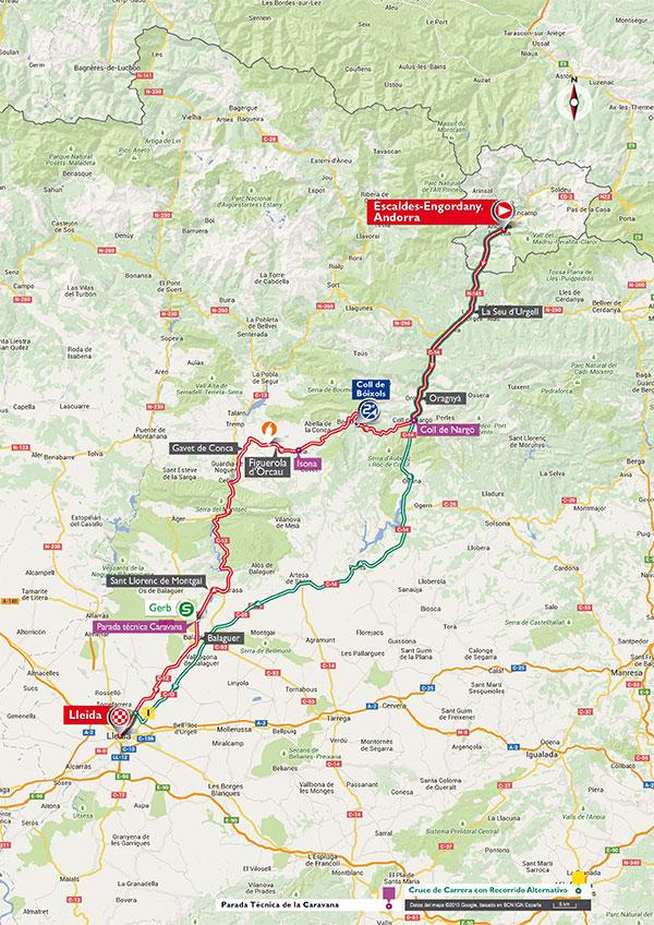 De route naar Lleida (Afbeelding: letour.fr)