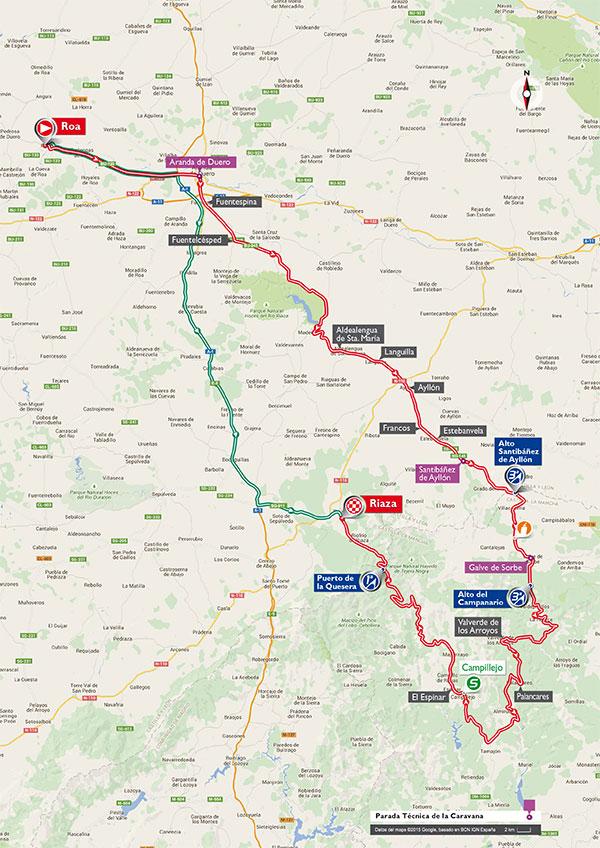 De route van Roa naar Riaza (Afbeelding: letour.fr)