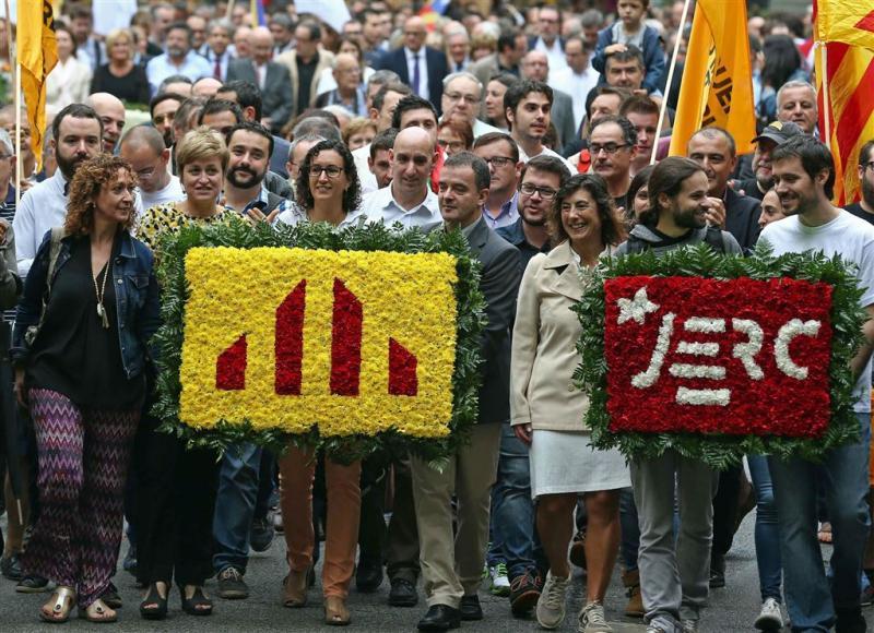 Massale betoging voor onafhankelijk Catalonië