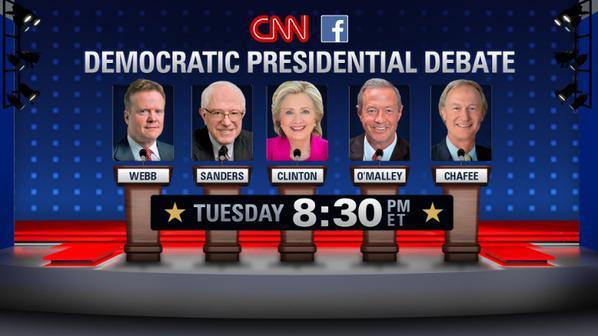 De vijf deelnemers aan het eerste Democratische tv-debat