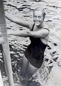 Ingeborg Sjöqvist tijdens de Spelen van 1936 (WikiCommons/Materialscientist)