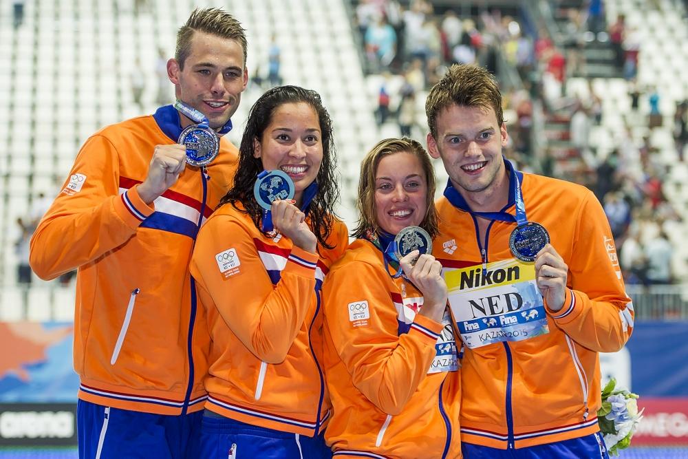 Na een zilveren medaille op de 4x50m vrij, viel de Nederlandse estafetteploeg opnieuw in de prijzen (Pro Shots/Insidephoto)